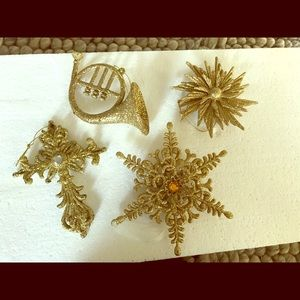 Other - Four gold Christmas ornaments